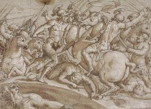 Reproduction oil paintings - Giorgio Vasari - Defence of Ponte Rozzo on the river Ticino in 1524