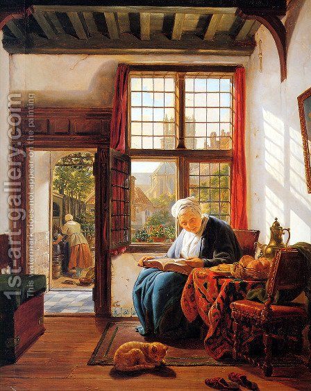 Reading old woman at window by Abraham van, I Strij - Reproduction Oil Painting