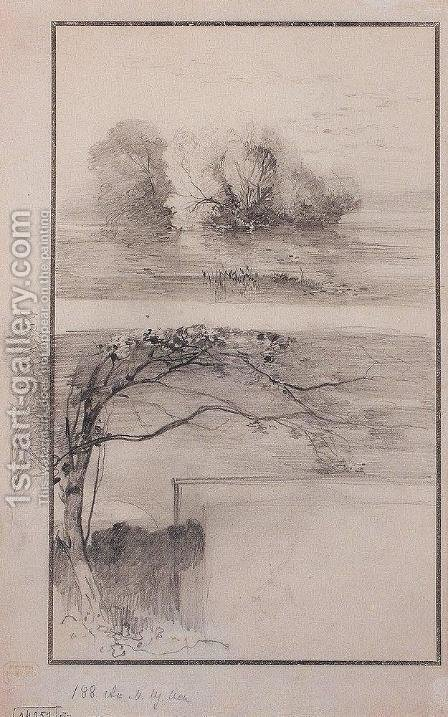 Trees near the water. Branches of trees by Alexei Kondratyevich Savrasov - Reproduction Oil Painting