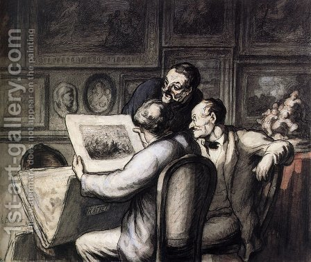 Three Amateurs in front of the Night Review of Raffet by Honoré Daumier - Reproduction Oil Painting