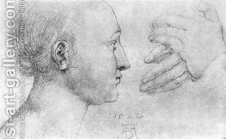 Studies on a great picture of Mary   girl's head and pair of hands by Albrecht Durer - Reproduction Oil Painting