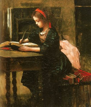 Reproduction oil paintings - Jean-Baptiste-Camille Corot - Young Girl Learning to Write