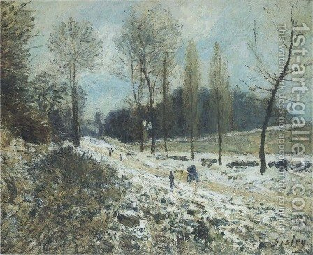Route to Marly Le Roi in Snow by Alfred Sisley - Reproduction Oil Painting