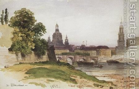 Dresden. Bridge of August by Ivan Shishkin - Reproduction Oil Painting
