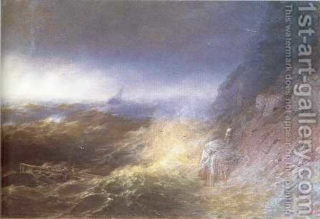 Tempest on the Black sea by Ivan Konstantinovich Aivazovsky - Reproduction Oil Painting