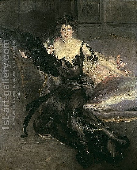 Portrait of a Lady, Mrs Lionel Phillips by Giovanni Boldini - Reproduction Oil Painting