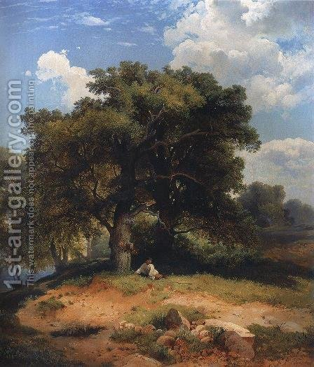 Landscape with oak trees and shepherd by Alexei Kondratyevich Savrasov - Reproduction Oil Painting