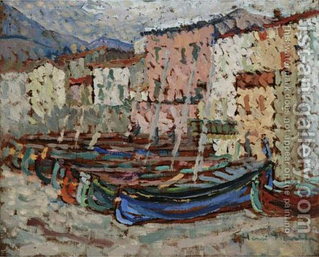 The Fishing Boats on the strike in Collioure by Henri Martin - Reproduction Oil Painting