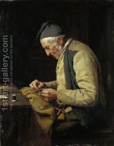 The village tailor 2 by Albert Anker - Reproduction Oil Painting