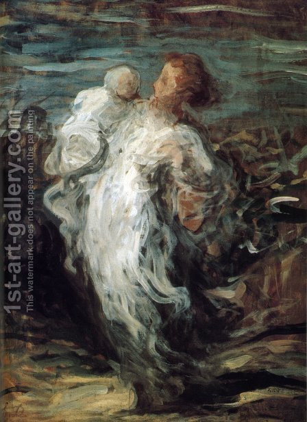 Mother with Child by Honoré Daumier - Reproduction Oil Painting