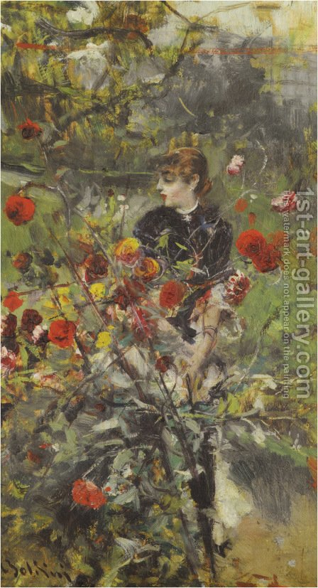 The Summer Roses by Giovanni Boldini - Reproduction Oil Painting