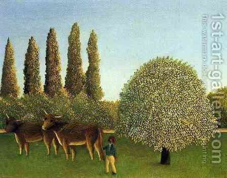 In the Fields by Henri Julien Rousseau - Reproduction Oil Painting