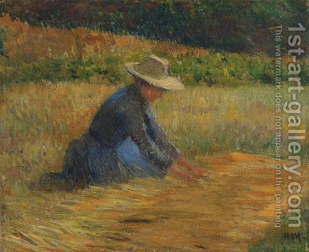 Peasant Woman in the Fields by Henri Martin - Reproduction Oil Painting