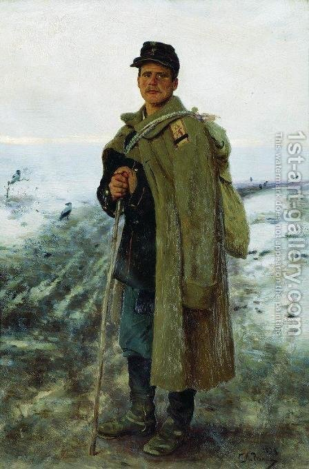 To his homeland. The hero of the last war by Ilya Efimovich Efimovich Repin - Reproduction Oil Painting