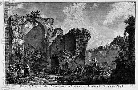 The Roman antiquities, t. 3, Plate XXII. View the remains of burial chambers by Giovanni Battista Piranesi - Reproduction Oil Painting