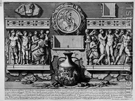 The Roman antiquities, t. 2, Plate XXXV. Rear of the previous special urn. by Giovanni Battista Piranesi - Reproduction Oil Painting