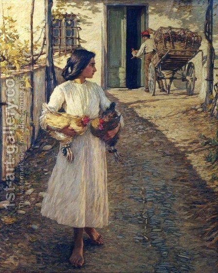 Selling Chickens in Liguria by Henry Herbert La Thangue - Reproduction Oil Painting