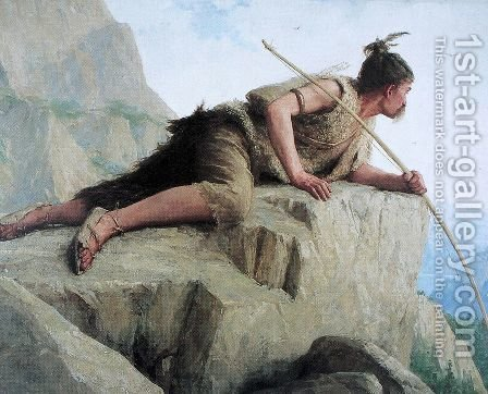 Der Pfahlbauer by Albert Anker - Reproduction Oil Painting