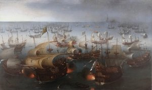 Famous paintings of Ships & Boats: The Battle with the Spanish Armada