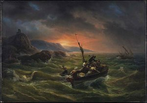 Famous paintings of Ships & Boats: Pirates Fighting at Sunrise