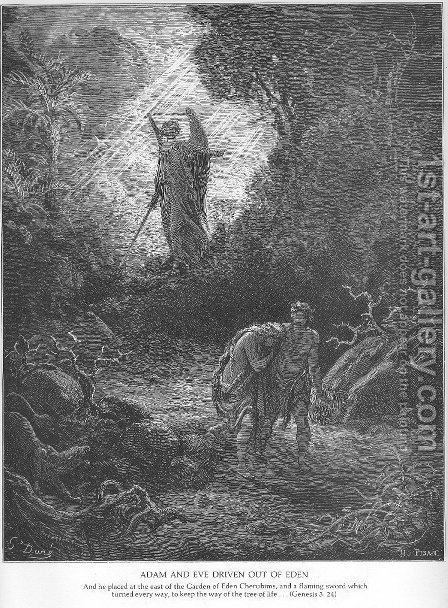 Adam and Eve Are Driven out of Eden by Gustave Dore - Reproduction Oil Painting