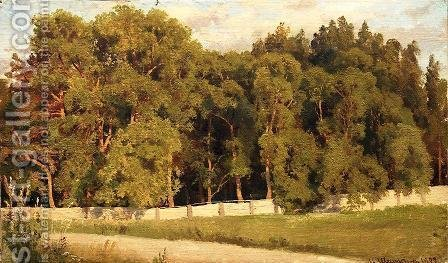 Woods behind the fence by Ivan Shishkin - Reproduction Oil Painting
