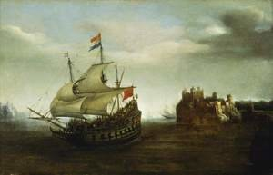 Famous paintings of Ships & Boats: A Castle with a Ship Sailing Nearby