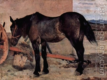 Pferd vor einem Wagen by Giovanni Fattori - Reproduction Oil Painting
