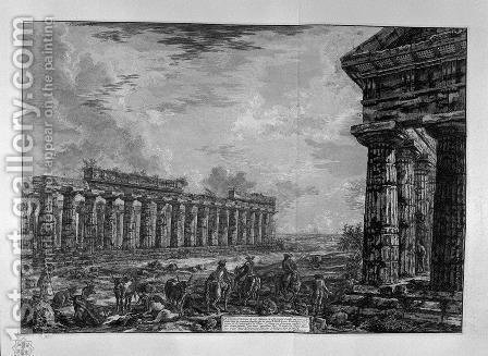 View of eighteen side columns by Giovanni Battista Piranesi - Reproduction Oil Painting