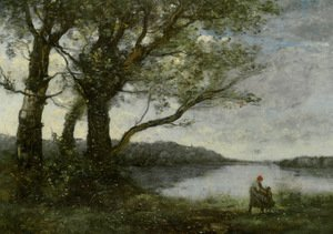 Reproduction oil paintings - Jean-Baptiste-Camille Corot - Three Trees with a View of the Lake