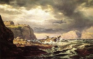 Famous paintings of Ships & Boats: Shipwreck on the Coast of Norway