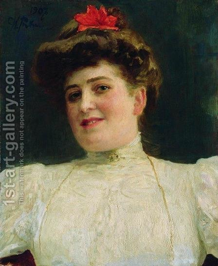 Portrait of a Woman (Olga Shoofs) by Ilya Efimovich Efimovich Repin - Reproduction Oil Painting
