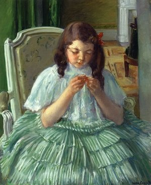 Reproduction oil paintings - Mary Cassatt - Francoise in Green, Sewing