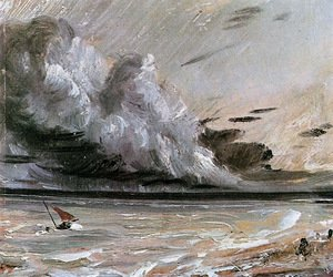 Reproduction oil paintings - John Constable - Coast scene with breaking cloud Sun