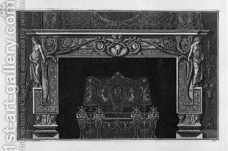 Fireplace in the frieze horse skull between two cameos; rich interior wing by Giovanni Battista Piranesi - Reproduction Oil Painting