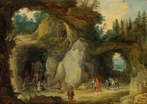 Mannerism painting reproductions: Mountain Landscape with Pilgrims in a Grotto Chapel, c. 1616.