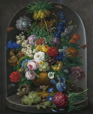 Rococo painting reproductions: Bouquet of flowers in stone vase, 1810