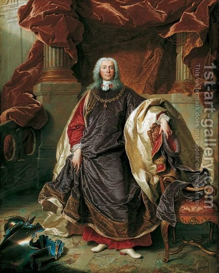 Portrait of Prince Joseph Wenzel I von Liechtenstein in the robes of the Order of the Golden Fleece (1696-1772), 1740 by Hyacinthe Rigaud - Reproduction Oil Painting