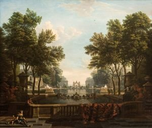 Rococo painting reproductions: Palace garden with ornamental water