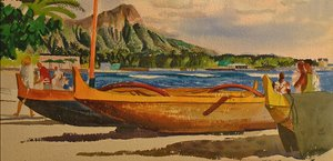 Famous paintings of Ships & Boats: Outriggers near Diamond Head
