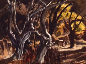 Famous paintings of Trees: River Bottom, 1937