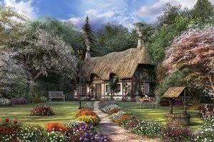 Painting of Victorian English Cottage