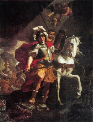 Famous paintings of Horses & Horse Riding: St. George Victorious Over The Dragon 1678