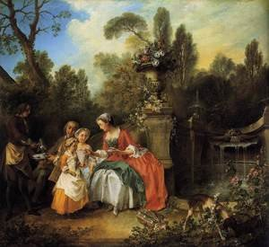 Famous paintings of Dogs: Lady and Gentleman with two Girls and a Servant  1742