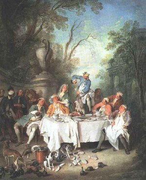 Famous paintings of Dogs: Luncheon Party in a Park c. 1735