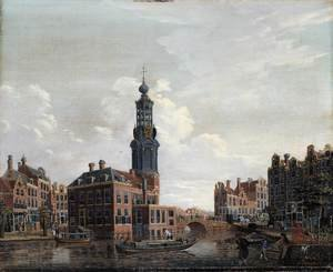 Famous paintings of Squares and Piazzas: View of the Singel with the Munttoren in Amsterdam 1770s