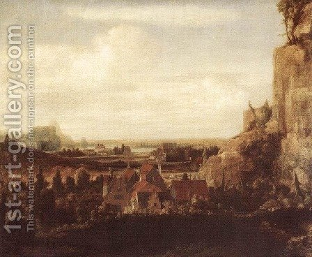 A River Valley with a Group of Houses c. 1625 by Hercules Seghers - Reproduction Oil Painting