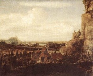 Hercules Seghers reproductions - A River Valley with a Group of Houses c. 1625