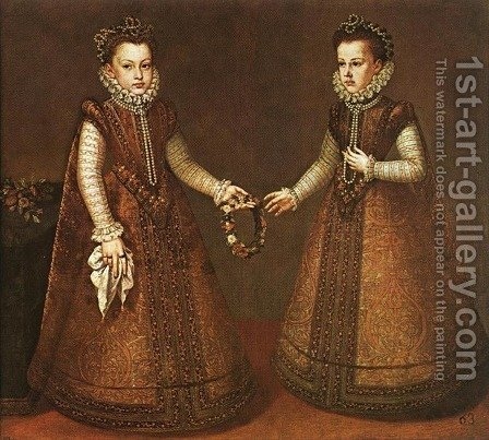 Alonso Sanchez Coello: Infantas Isabel Clara Eugenia and Catalina Micaela c. 1571 - reproduction oil painting