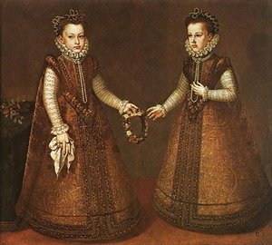 Alonso Sanchez Coello reproductions - Infantas Isabel Clara Eugenia and Catalina Micaela c. 1571